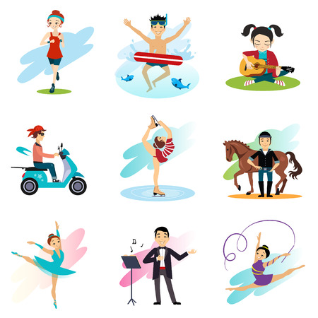 active lifestyle: Active lifestyle, Hobbies, healthy lifestyle set isolated illustration Stock Photo