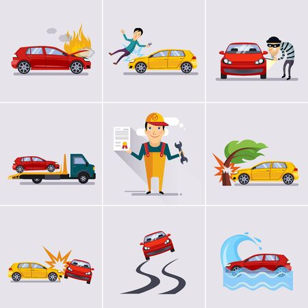 security gap: Car and transportation insurance and risk icons illustration set