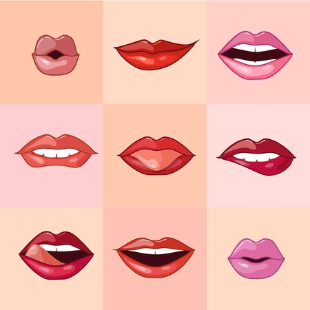 sexy tongue: Set of beautiful female lips with different makeup. illustration.