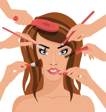 many hands: Many hands with cosmetics brush doing makeup of glamour girl illustration Stock Photo