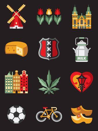 dutch: Netherlands travel symbols and dutch landmarks flat illustration Stock Photo