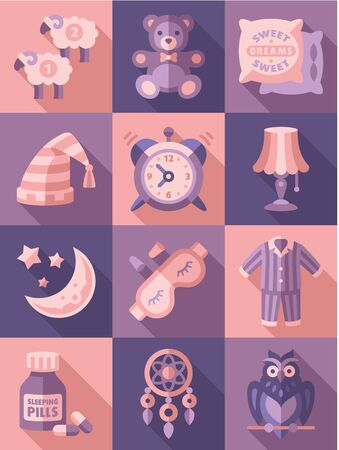 snore: Sleep time icons flat set isolated illustration Stock Photo