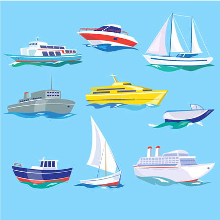 hovercraft: Set of sea ships. Water carriage and maritime transport in flat design style. Side view illustration.