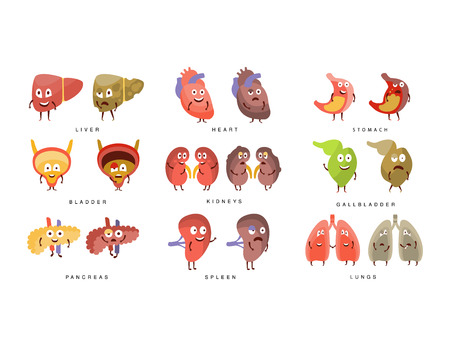 insides: Healthy vs Sick Human Organs Infographic Illustration Set With Humanized Childish Cartoon Characters On White Background