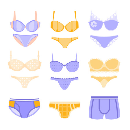 underclothes: Comfortable Men And Women Underwear In Pastel Blue And Yellow Colors Matching Sets Collection Of Clip Art Objects