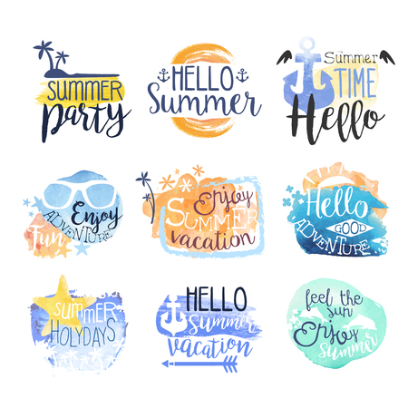 beach ad: Summer Beach Vacation Promo Signs Colorful Set Of Watercolor Stylized  With Text On White Background Illustration