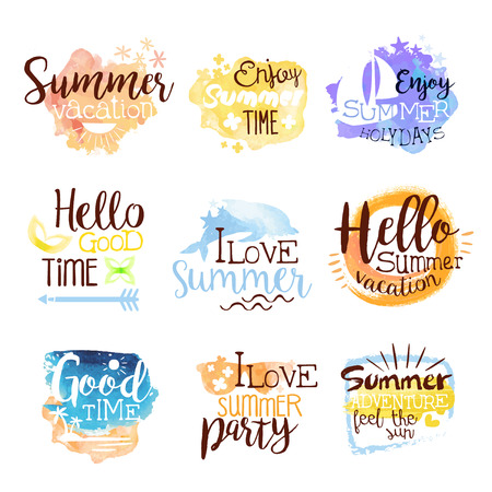 beach ad: Summer Beach Holidays Colorful Label Set OF Watercolor Stylized Promo With Text On White Background Illustration