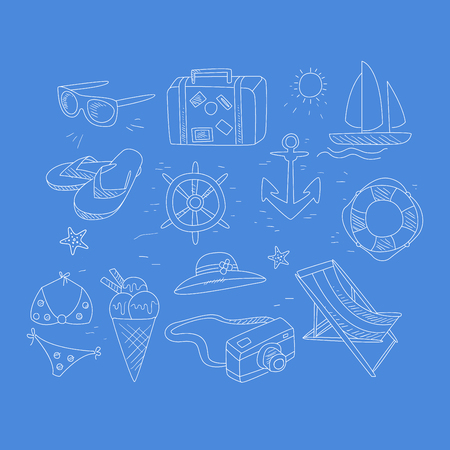life saver: Summer Travel Related Object Collection Hand Drawn Simple Vector Illustration Is Sketch Style