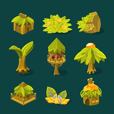 Video Game Tropical Jungle Design Collection Of Element In Cute Vector Childish Style Isolated On White Background Vektorové ilustrace