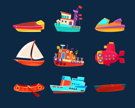 Water Transport Toy Collection Of Bright Color Boats In Simple Childish Style Isolated On Dark Background