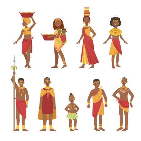 African National Tribal Outfit Bright Color Cartoon Simple Style Flat Vector Set Of Stickers Isolated On White Background Illustration