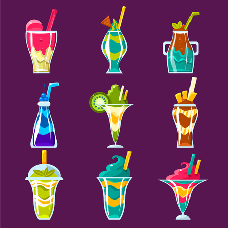 multilayered: Smoothies And Sweet Multilayered Cocktails Collection Of Bright Color Glossy Icons, Cute Vector Clipart Objects