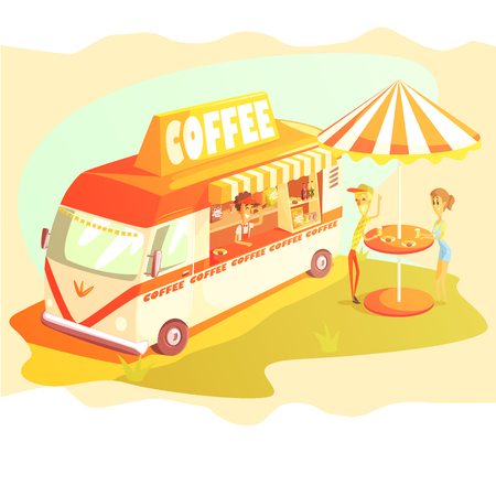 mini umbrella: Coffee Shop Cafe In Mini Bus On Sunny Day With Outdoors Table Cool Colorful Vector Illustration In Stylized Geometric Cartoon Design