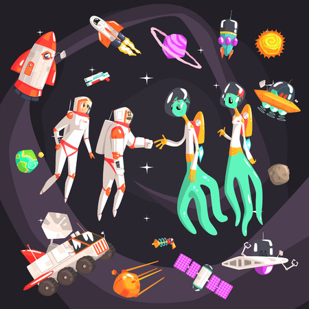 beings: Astronauts Shaking Hands With Extraterrestrial Beings In Space Surrounded By Space Travel Related ObjectsCool Colorful Vector Illustration In Stylized Geometric Cartoon Design
