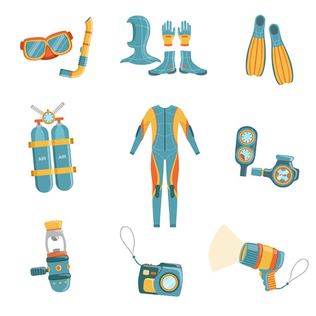 depth gauge: Scuba Diving Gear Bright Color Cartoon Simple Style Flat Vector Set Of Stickers Isolated On White Background