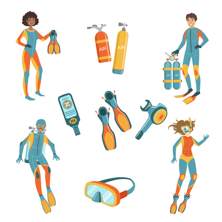 free diving: People, Scuba Diving And Free diving Gear Bright Color Cartoon Simple Style Flat Vector Set Of Stickers Isolated On White Background Illustration
