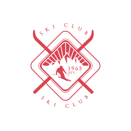 established: Ski Club Red Emblem Classic Style Vector With Calligraphic Text On White Background Illustration