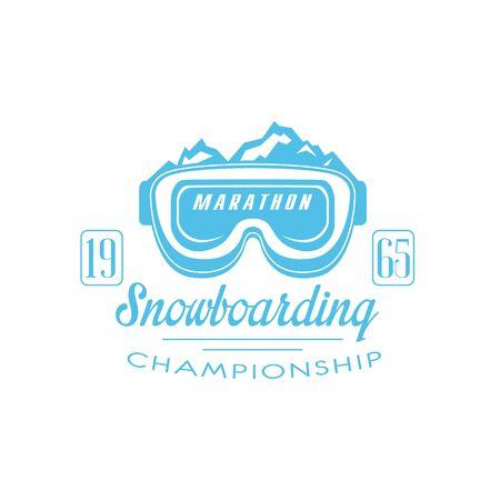 established: Marathon Snowboarding Emblem Classic Style Vector With Calligraphic Text On White Background