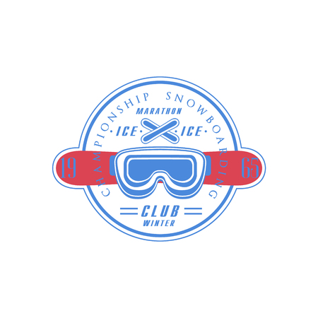 established: Snowboarding Club Emblem Classic Style Vector With Calligraphic Text On White Background