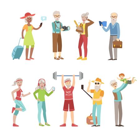 Cool und Aktiv alte Leute Leuchtende Farbe Cartoon-einfache Art Wohnung Vector Set Aufkleber auf weißen Hintergrund