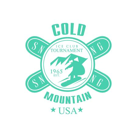 established: Cold Mointain Club Emblem Classic Style Vector With Calligraphic Text On White Background