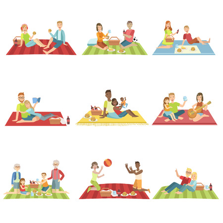 family playing: People On Picnic Outdoors Bright Color Cartoon Simple Style Flat Vector Set Of Stickers Isolated On White Background