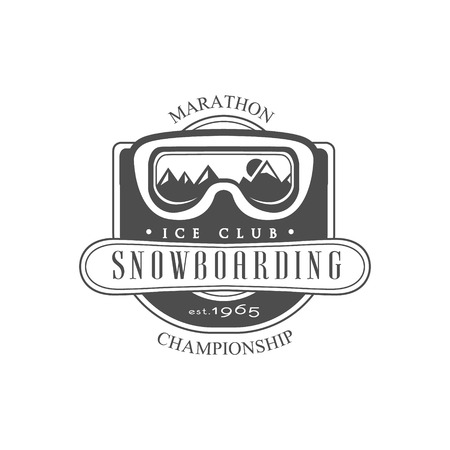 established: Snowboarding Ice Club Emblem Classic Style Vector  With Calligraphic Text On White Background