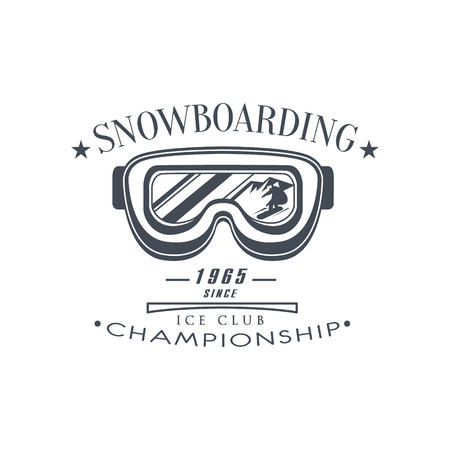 established: Ice Club Championship Emblem Classic Style Vector With Calligraphic Text On White Background Illustration
