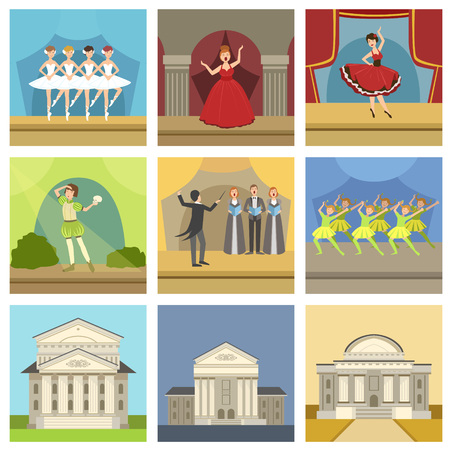 shakespeare: Theatre Buildings And Stage Perfomances Set Of Icons. Ballet, Opera, Shakesperean Play And Choir Performance On Stage. Illustration