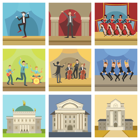 Theatre Buildings And Stage Perfomances Icons, Including Modern Dance, Jazz Concert And Cabaret Dancing Shows