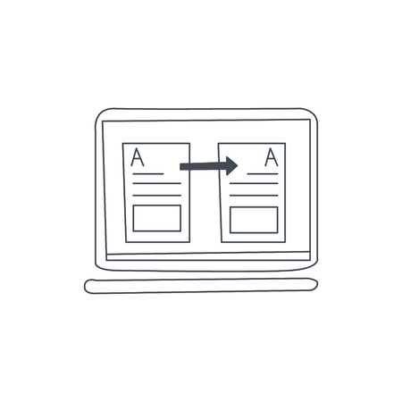 computer program: Document Translation In Computer Program Black And White Hand Drawn Illustration In Simplified Graphic Style On White Background Illustration