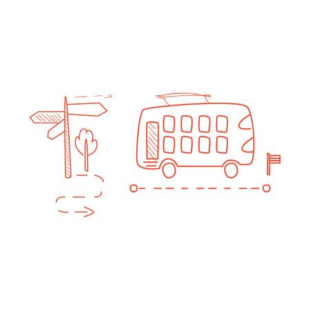 Doppia Decked Bus con l'illustrazione infantile Drawn Linea tratteggiata Percorso mano in stile fumetto divertente su sfondo bianco