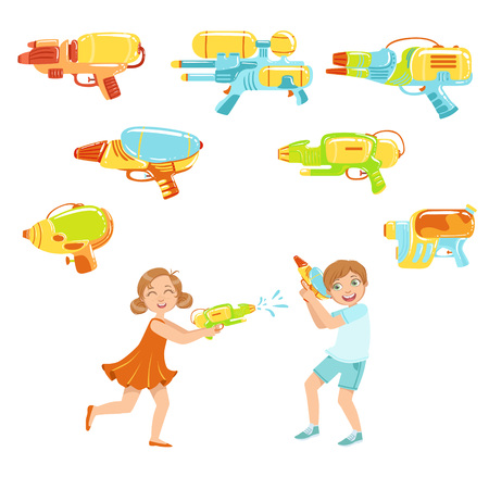 bue: Kids Playing With Water Pistols And Assortment Of Water Guns, Colorful Flat Bright Color Vector Illustration On White Background