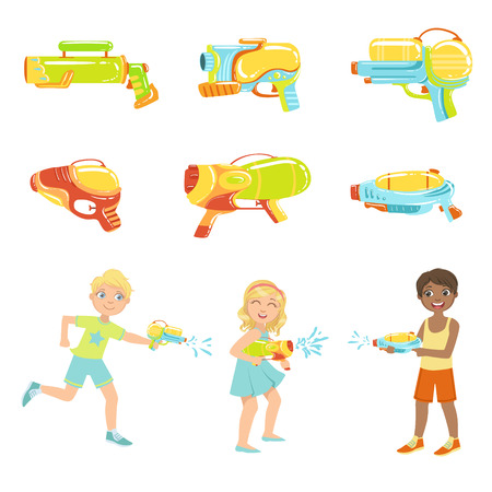 pistols: Kids Playing With Water Pistols And Different Water Guns, Colorful Flat Bright Color Vector Illustration On White Background Illustration