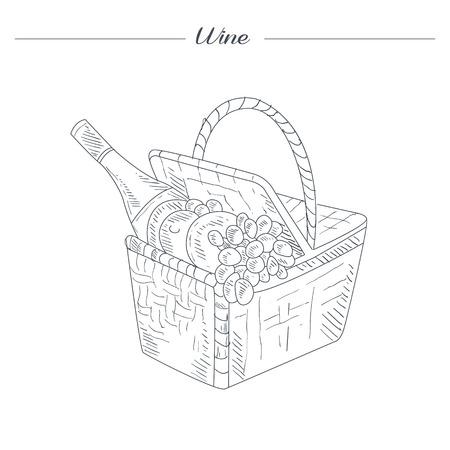 Picknickkorb mit Wein Hand gezeichnet Realistische Detaillierte Skizze Schöne Noble Stil auf weißem Hintergrund