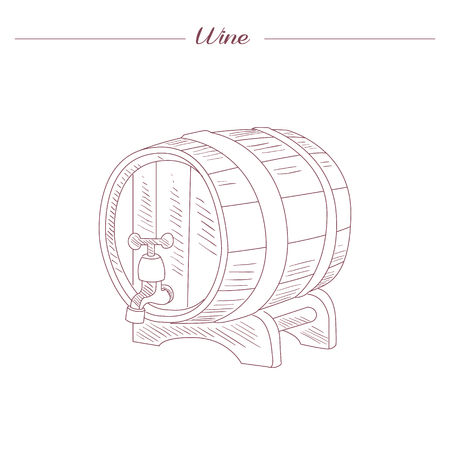 tun: Wine Tun Hand Drawn Realistic Detailed Sketch In Beautiful Classy Style On White Background