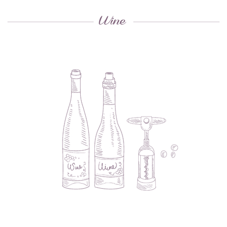 wine bottles: Two Wine Bottles And Corkscrew Hand Drawn Realistic Detailed Sketch In Beautiful Classy Style On White Background