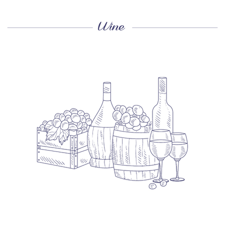 wine grapes: Wine Bottle, Glass And Crate Of Grapes Hand Drawn Realistic Detailed Sketch In Beautiful Classy Style On White Background Illustration