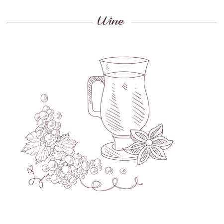 vin chaud: Glass Of Spiced Hot Wine Hand Drawn Sketch d�taill�e R�aliste Dans Belle style chic sur fond blanc
