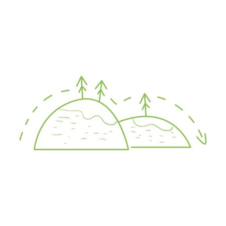 Hiking In The Mountains Simple Map Hand Drawn Childish Illustration In Funny Comic Style On White Background