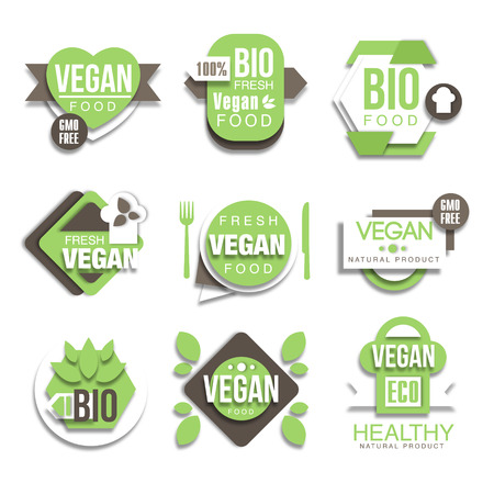 Bio Natural Vegan Product Green Graphic Design Simple Style Stickers On White Background Collection Illustration