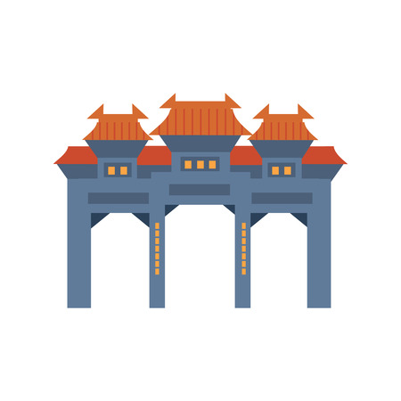 Blue Archway In Classic Chinese Style Flat Bright Color Primitive Drawn Vector Icon Isolated On White Background Illustration