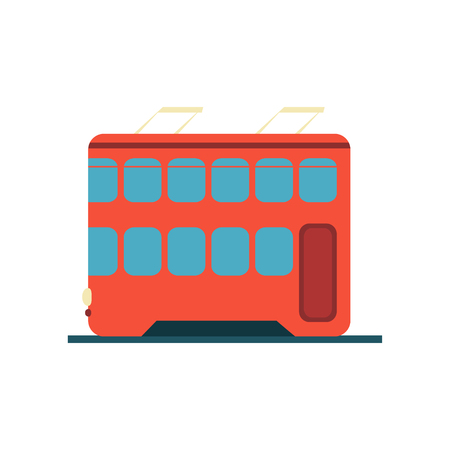hong kong street: Chinese Tramway Flat Bright Color Primitive Drawn Vector Icon Isolated On White Background