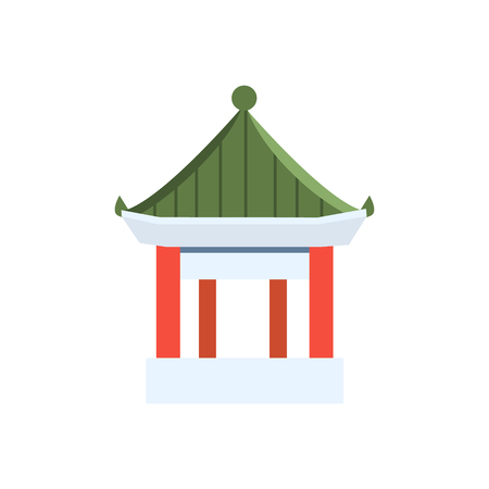 primitive: Small Chinese Pagoda Flat Bright Color Primitive Drawn Vector Icon Isolated On White Background Illustration
