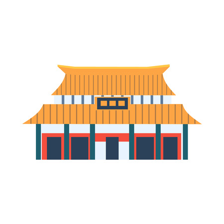 Classic Chinese Style House Flat Bright Color Primitive Drawn Vector Icon Isolated On White Background Illustration