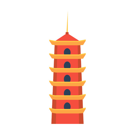 Classic Chinese Tower In Hong Kong Flat Bright Color Primitive Drawn Vector Icon Isolated On White Background