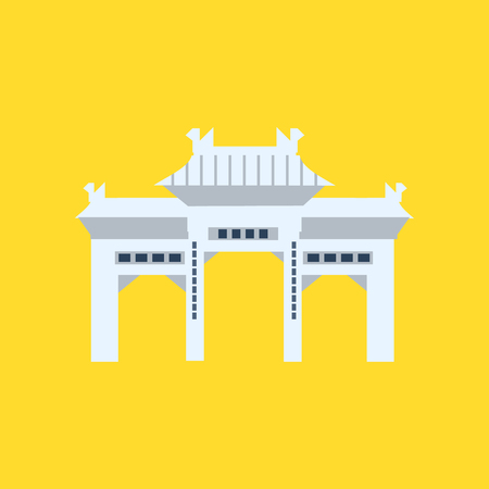 characteristics: Rsing Shan Monastery Memorial Archway In Hong Kong Flat Bright Color Primitive Drawn Vector Icon Isolated On White Background Illustration