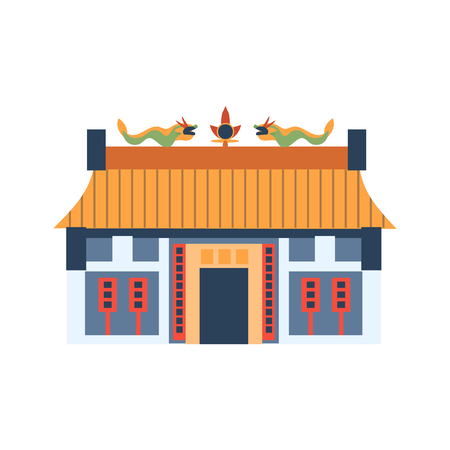characteristics: Classic Chinese House With Dragons On The Roof Flat Bright Color Primitive Drawn Vector Icon Isolated On White Background
