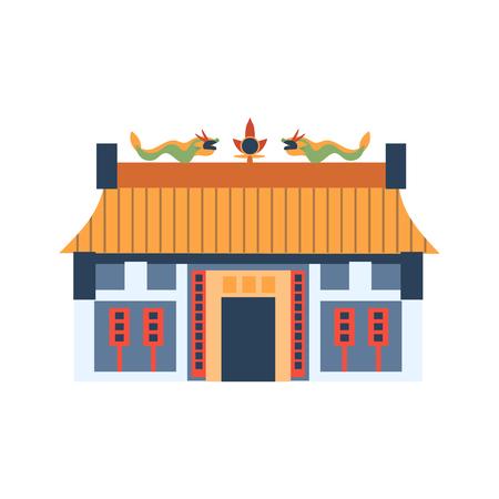 Klassieke Chinese Huis Met Draken Op Het Dak Flat Helder Kleur Primitive Drawn Vector pictogram op een witte achtergrond