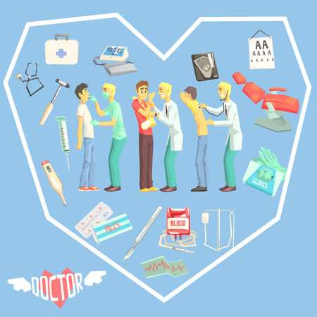 er: Doctors Examination Patients With Medicine Related Objects In Heart Shaped Frame Cool Colorful Vector Illustration In Stylized Geometric Cartoon Design Illustration
